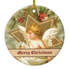 Vintage little cute Christmas angel and star Ornaments