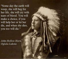 """Some day the earth will weep, she will beg for her life, she will cry with tears of blood. You will make a choice, if you will help her or let her die, and when she dies, you too will die."" - John Hollow Horn"