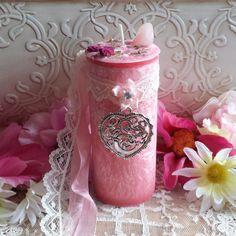 Goddess Aphrodite Pillar Candle with Rose Quartz Gem Stone, Goddess Spell Candle