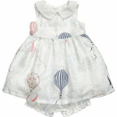 Hucklebones London Baby Girls Balloon Print Silk Dress at Childrensalon.com