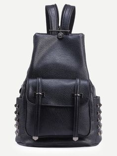 Black Double Buckled Strap Front Studded Backpack