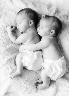 *Twin babies having a nap together. Amazing how twins always do better when they can feel their other half. It's touching, really*