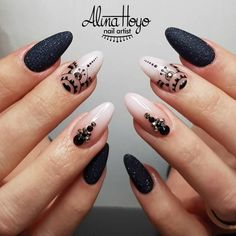 Imagen de manicure, nail art, and nails White Nail Designs, Best Nail Art Designs, Black Nails, White Nails, White Glitter, White Ombre, Black Almond Nails, French Nails, Glitter Nails