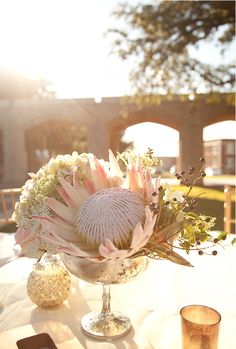 Gorgeous King Protea! Centerpiece by Moss Floral!
