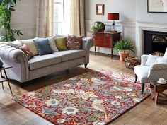 Strawberry Thief Rugs 027700 Crimson by William Morris buy online from the rug seller uk William Morris, Carpet Fitters, Carpets Online, Tapis Design, Rug Size Guide, Burke Decor, Home Trends, Rug Material, Traditional House