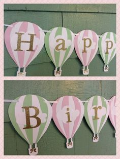 Hot Air Balloon Birthday Banner hot air balloon party theme by ThePinkPapermill on Etsy https://www.etsy.com/listing/237192824/hot-air-balloon-birthday-banner-hot-air
