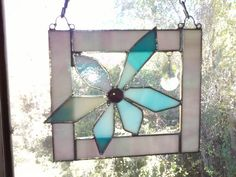 Stained Glass 60s Mod Flower Power Window Panel,Iridescent & Aqua Tones, Crystal Prism, Abstract Art, Funky, Hippie, Handcrafted