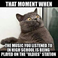 The moment you realize the music you used to listen to is now on the oldies station!