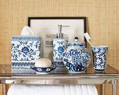 Blue White Bath Accessories