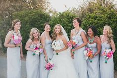 Bridesmaids Dresses : Dove Gray Amsale - Accessorized with Statement Necklaces! Photography: Studio Castillero