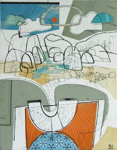 Boulders on the Shore collagraph print over collage 29 x 37cm  by Amy Chapman