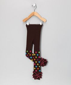 Brown Dot Ruffle Leggings - Infant & Toddler by Under The Hooded Towels #zulily #zulilyfinds