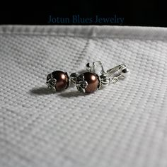 Antique copper brown pearl earrings with beautiful leaves. Ear Hook available on Etsy, $14.99
