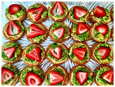 Strawberry hummus avocado appetizer  So easy, so good Spread on cracker hummus, then avocado,top w ripe strawberry