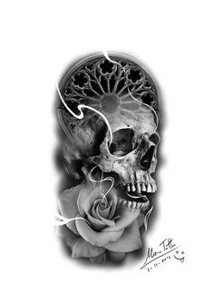 Full Sleeve Tattoo Design, Skull Tattoo Design, Tattoo Designs Men, Bull Skull Tattoos, Body Art Tattoos, Sleeve Tattoos, Skull Tattoo Flowers, Realistic Rose Tattoo, Rose Tattoos For Men