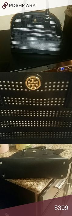 Tory burch handbag Black with white perforated dome. All leather. NWOT.  Willing to trade for brown tory or longchamp of equal value. Too many black handbags. Looking for brown or burgundy. Tory Burch Bags Satchels