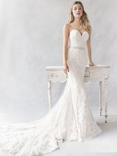 Ella Rosa Style BE377 | exquisite lace dress with sheer illusion back | romantic wedding dress | bridal gown