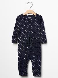 Dot tie-waist one-piece