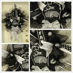 San Antonio Spurs wreath $70 by She's Crafty at www.facebook.com/shescraftybyclaranicole or www.etsy.com/shop/shescraftybyclara