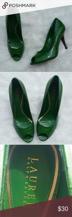 Ralph Lauren dark green crocodile peep toe heels Ralph Lauren dark green crocodile peep toe heels Ralph Lauren Shoes Heels