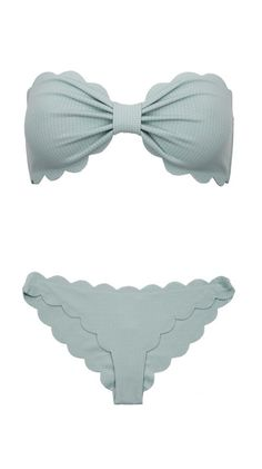 Seafoam Scalloped Bikini - perfect for smaller bust - triangle  pear shape body