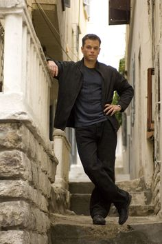 """Matt Damon  of  The Bourne series   Haha, his pose really just struck me as funny, like """" well, FINALLY I can relax after having 5 guys try to kill me at the same time..."""" LOVE Jason Bourne"""