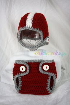 Newborn Crochet Football Helmet/Diaper Cover SET --Alabama  This might be the cutest thing I've ever seen.