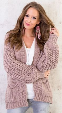 Brown Cardigan, Sweater Cardigan, Knit Jacket, Girls Sweaters, Knitting Patterns Free, Crochet Clothes, Knitwear, Submissive, Women