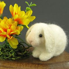 Needle Felted Bunny Sculpture with Marigolds - Lop-Eared Bunny Rabbit Sculpture SALE. [Oh, oh, oh - ]