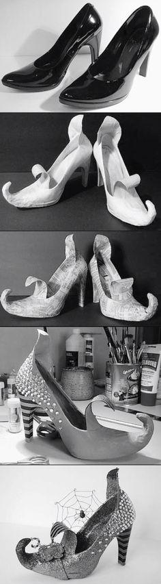 Papier mache schoenen met hoge hakken.