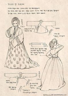 How to draw Korean tranditional dress Hanbok Korean Traditional Clothes, Traditional Fashion, Traditional Dresses, Traditional Art, Korean Hanbok, Korean Dress, Korean Outfits, Dress Drawing, Drawing Clothes