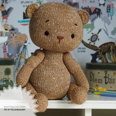 Knitted Teddy Bear Pattern #knitting #teddy #bear #toy #doll #pattern #tutorial #animal #craft #diy Teddy Bear Knitting Pattern, Knitted Teddy Bear, Teddy Bear Toys, Knitting Patterns, Knitting Ideas, Knitted Animals, Knit In The Round, Yarn Brands, Stuffed Toys Patterns