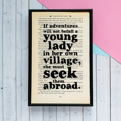 Northanger Abbey Quote  Travel Wall Art  Adventure  by BookishlyUK