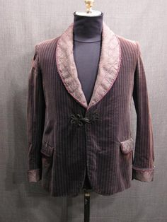 Smoking Jacket grey velour stripe, purple trim--Oregon Shakespeare Festival costume rental