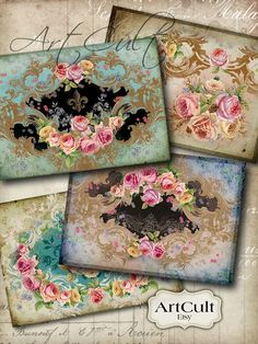 SHABBY VICTORIANA - Printable Digital Collage Sheet 2.5x3.5 inch size Gift Tags Greeting Cards Ephemera Vintage Paper Craft Jewelry Holders