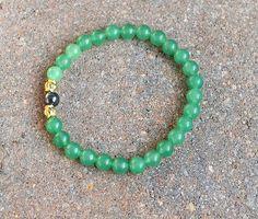Beaded Stretch Bracelet Green Aventurine Black by CoralsJewelry