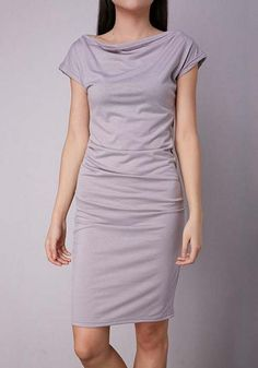 Grey Plain Short Sleeve Fashion Mini Dress