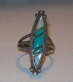 Vintage Native American TURQUOISE & MOTHER of PEARL mop large elongated sterling silver ring size 9.5 by collectaholics on Etsy