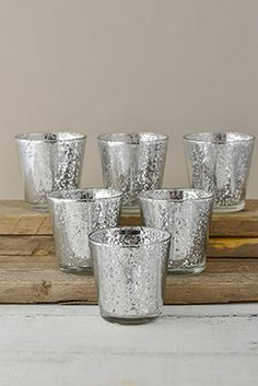 8.99 SALE PRICE! These gracefully tapering Mercury Glass Votive Holders are a must have item for any elegant event. The glass candle holders measure just 3&q...