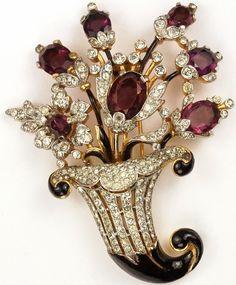 Trifari 'Alfred Philippe' Gold Pave and Amethyst Flowers Cornucopia Pin Clip