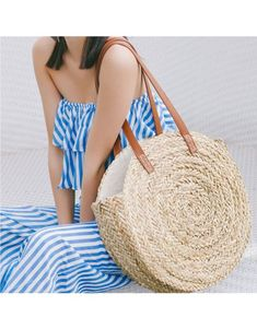 Runde Strandtasche, Stroh