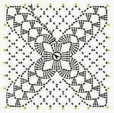 Small motifs that can be connected into a larger piece. Motifs Granny Square, Granny Square Crochet Pattern, Crochet Diagram, Crochet Squares, Crochet Granny, Crochet Doilies, Crochet Flowers, Crochet Stitches Chart, Crochet Motif Patterns