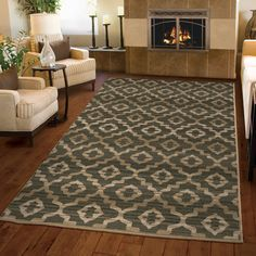 Green is the new neutral. Beautiful trellis design that will compliment any style of home décor. #orianrugs #greenrug #rugtrend #trellisrug