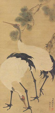 Pair of Crane in Pine. A collaboration work of Kishi Renzan and Iwai Koun. Japanese Bird and Flower Hanging Scroll Painting Kakejiku.