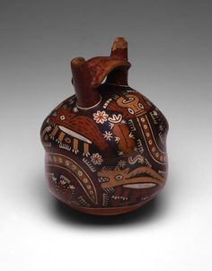 Nazca  South coast, Peru, Double-Spouted Vessel Depicting a Landscape with Coyotes and Cactus  -artic-
