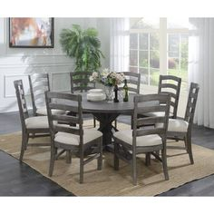 Shop Emerald Home Paladin Rustic Dining Table - On Sale - Overstock - 20338768 - Trestle - Grey Finish - Pine/Metal - Light Grey - Rustic Expandable Round Dining Table, Grey Round Dining Table, Small Dining, Dining Table Lighting, Dining Table In Kitchen, Dining Rooms, Dining Set, Furniture Deals, Dining Furniture