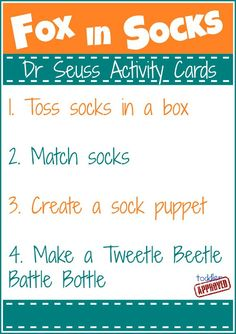 Dr. Seuss activity cards printable for several Seuss books, includes ideas for the books