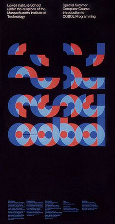 MIT office of publications: Poster announcing a COBOL programming course at MIT designed by Dietmar Winkler, 1969