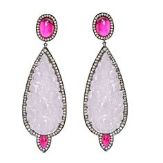 SUTRA Pave Diamond Pink Tourmaline & Pink Jade Earrings  ~Indian Contemporary, 18k Gold Pink Tourmaline & Jade Earring