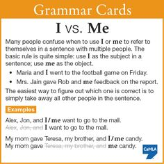 """Do you always know when to use """"I"""" or """"me"""" in sentences where you include other people? It can be tricky."""